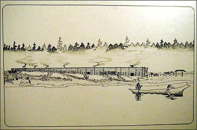 An artist's conception of what the Old Man House village might have looked like. The village was the home of Chief Sealth. (Suquamish Museum photo/seattlepi.com file)