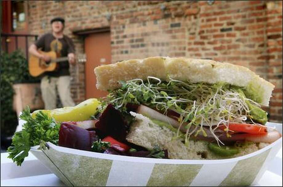Santa Barbara sandwich at Sister's European Snacks. Photo: Dan DeLong, Seattle Post-Intelligencer / Seattle Post-Intelligencer
