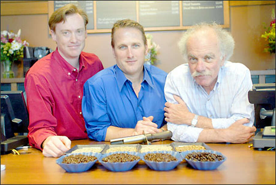 Doug Welsh, John Weaver and James Reynolds of Peet's Coffee & Tea line up in the new Fremont location. Photo: Karen Ducey, Seattle Post-Intelligencer / Seattle Post-Intelligencer