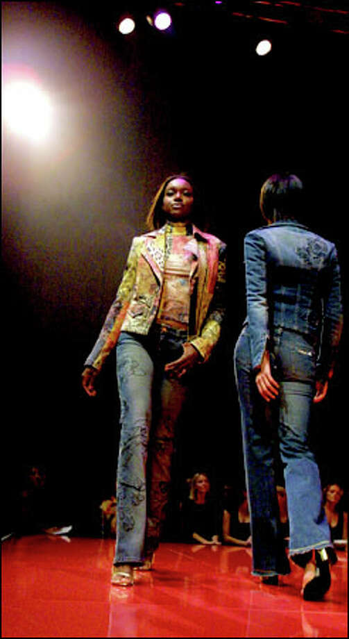 Other interesting jackets on the runway included Roberto Cavalli's multipatchwork design and a denim example with rose appliqué. Photo: Melina Mara, Seattle Post-Intelligencer / Seattle Post-Intelligencer