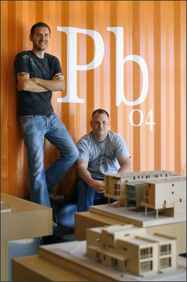 Pb Elemental founders Chris Pardo, left, and David Biddle are shown in their office, a converted Central District warehouse. Photo: Andy Rogers, Seattle Post-Intelligencer / Seattle Post-Intelligencer