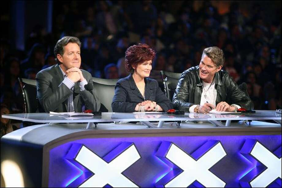 "From left, Piers Morgan, Sharon Osbourne and David Hasselhoff hold auditions for ""America's Got Talent."" (Adam Taylor / Nbc Universal Inc.)"