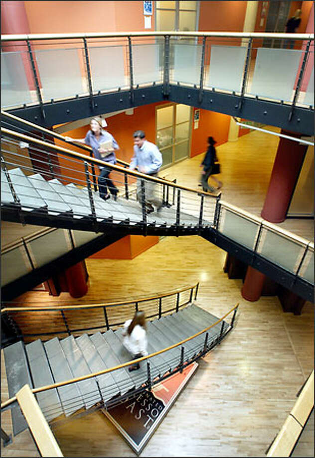 Staircases at Starbucks' corporate headquarters in Seattle are conveniently designed and located to encourage their use. Elevators have been situated on the extreme edges of the building to promote exercise through using the stairs. Photo: Dan DeLong, Seattle Post-Intelligencer / Seattle Post-Intelligencer