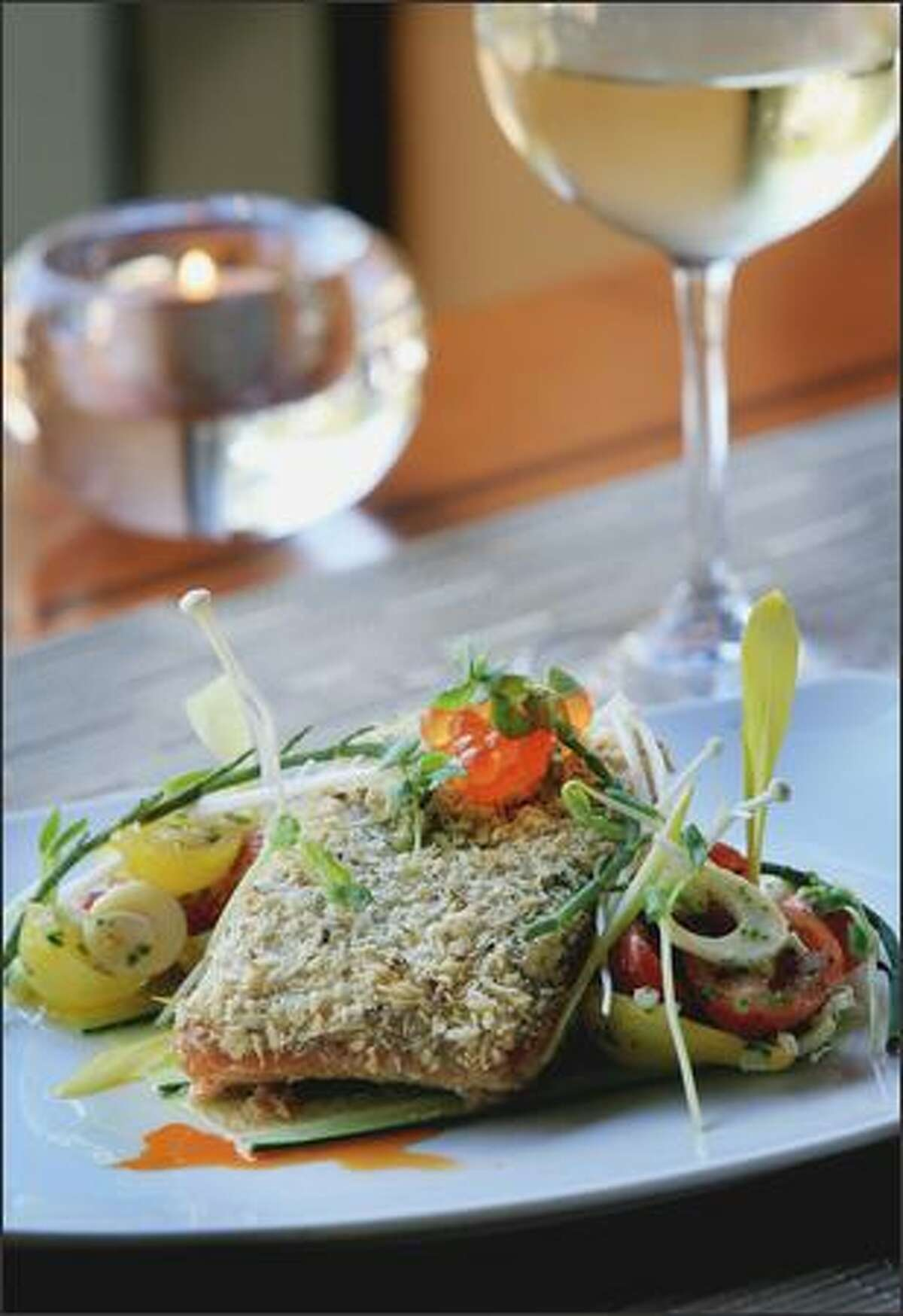 Troll-caught king salmon ($25) is enveloped in a panko crumb crust that was seasoned with fresh-grated wasabi.