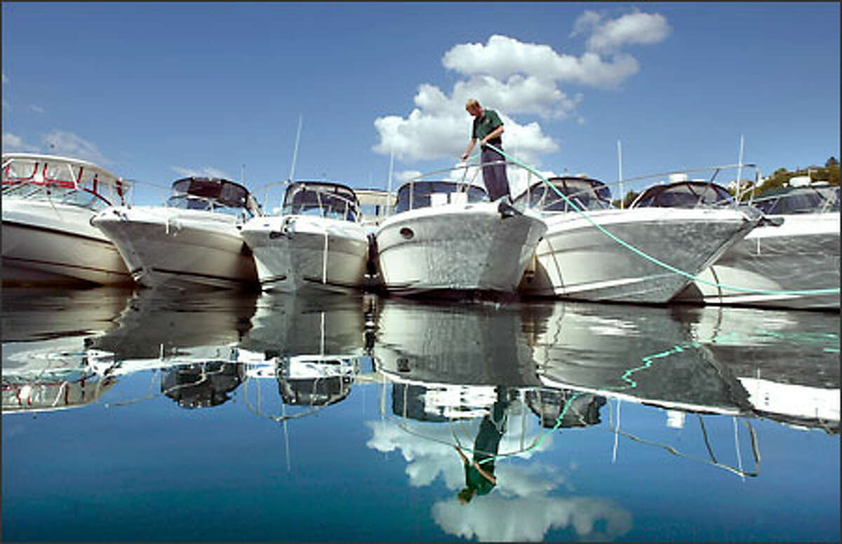 Ted Malloy washes down the decks of a row of Sea Ray boats as he helps prepare for the Seattle Boat Show at Shilshole Bay Marina, which starts tomorrow and runs through Sunday.
