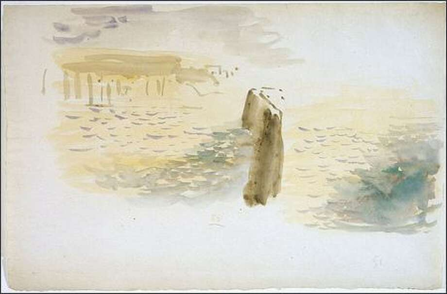 """Eugene Delacroix's """"The Sea and Cliffs Near Dieppe,"""" a small watercolor and pencil on paper, is on view at the James Harris Gallery."""