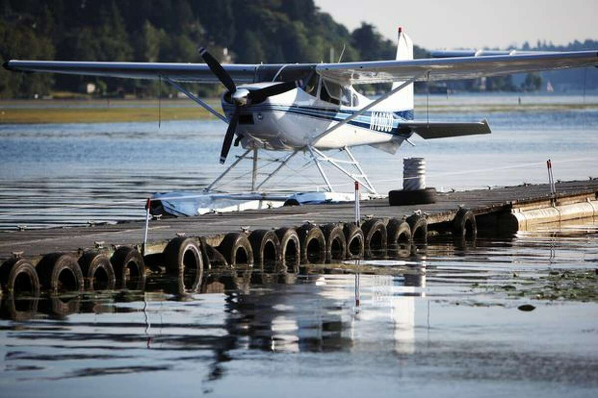 A Cessna floatplane is tied to a dock on Lake Washington after the pilot of the plane entered closed airspace during a visit by U.S. President Barack Obama. Two F-15s were scrambled from Oregon, breaking the sound barrier on their way to intercept the floatplane coming from Chelan. The sonic boom panicked people across Puget Sound, flooding 911 call centers.