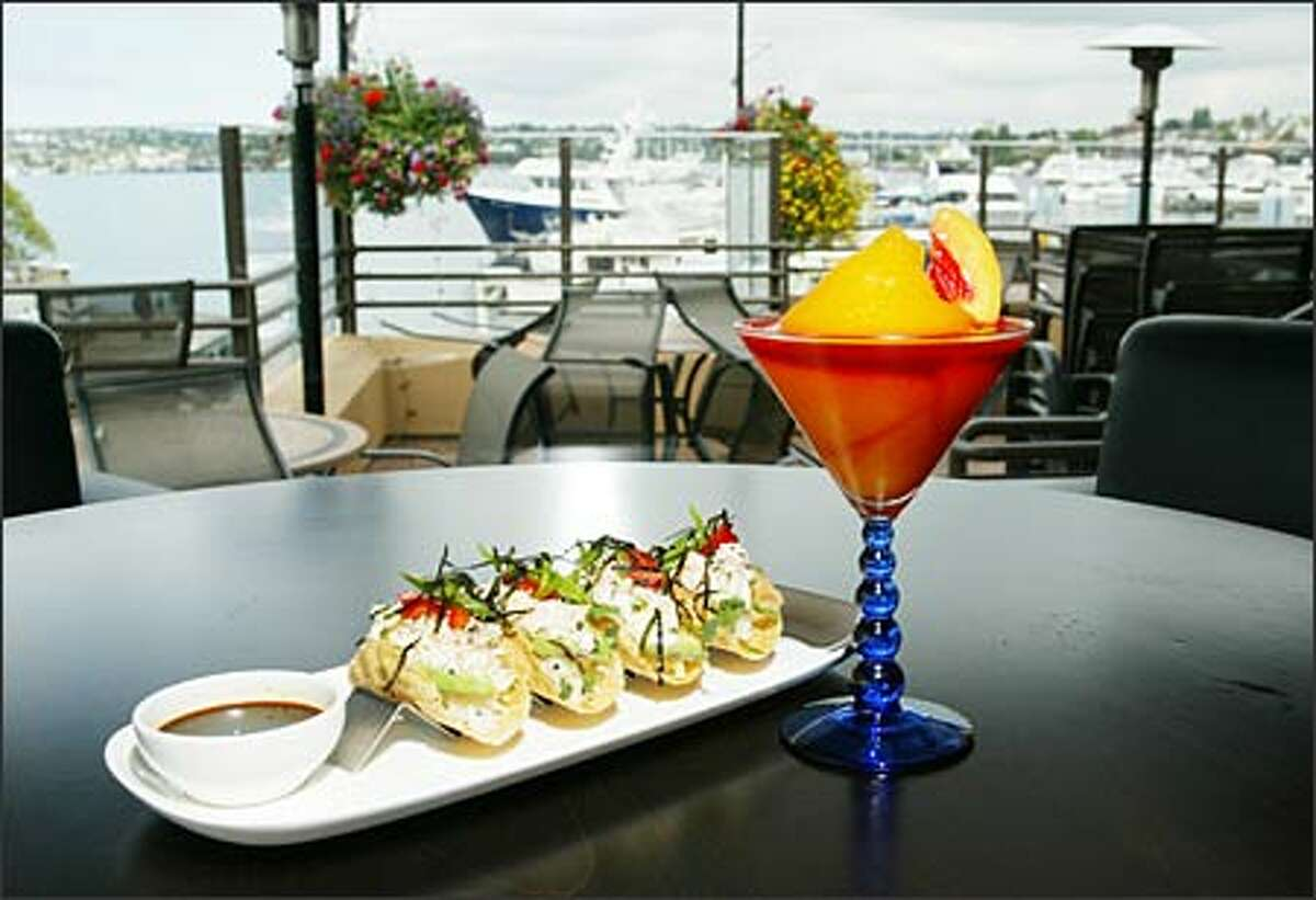 At Joeys on Lake Union, shimmering water views and a men's-club ambience come with a menu of oddities and old favorites. Pictured: California Sushi Tacos and a Bellini.