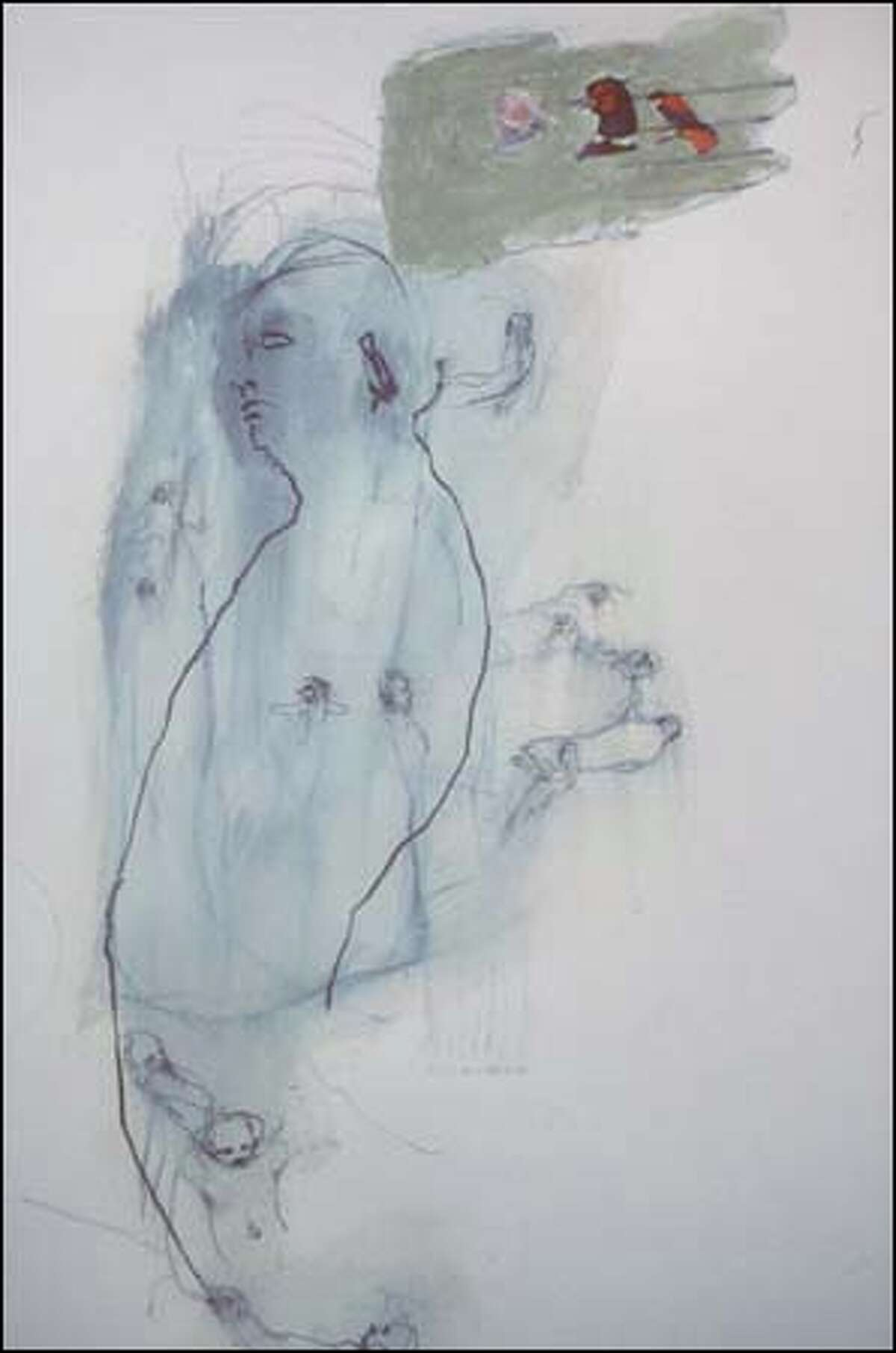 """The drawings of Pam Keeley, such as """"Like Mercury"""" (detail shown), look like life: sketchy, ambiguous and lit by moments of connection and understanding."""