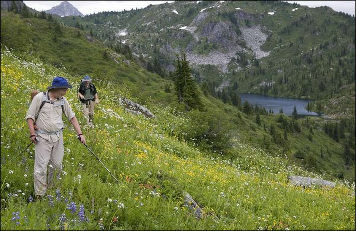 Sandy McKean, left, of Seattle and Brian Curtis of Silverdale enjoy the native wildflower meadows near Monogram Lake. (Stephen Brashear)