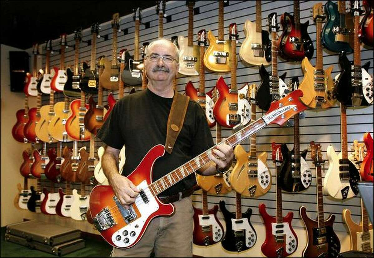 John Hall delivered a left-handed bass to Paul McCartney in 1965 when the Beatles played a concert at the Hollywood Bowl. Hall's father had given McCartney a right-handed version the previous year. (David Geiger / Via Bloomberg News)