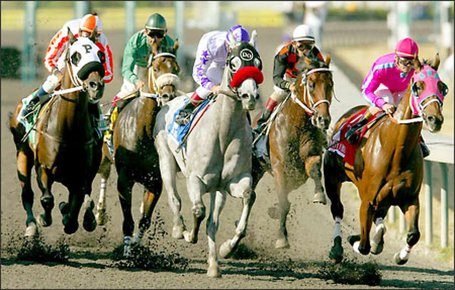 Jockey Russell Baze, center, rides Sky Jack into the first turn in the Longacres Mile at Emerald Downs. Photo: Mike Urban, Seattle Post-Intelligencer / Seattle Post-Intelligencer