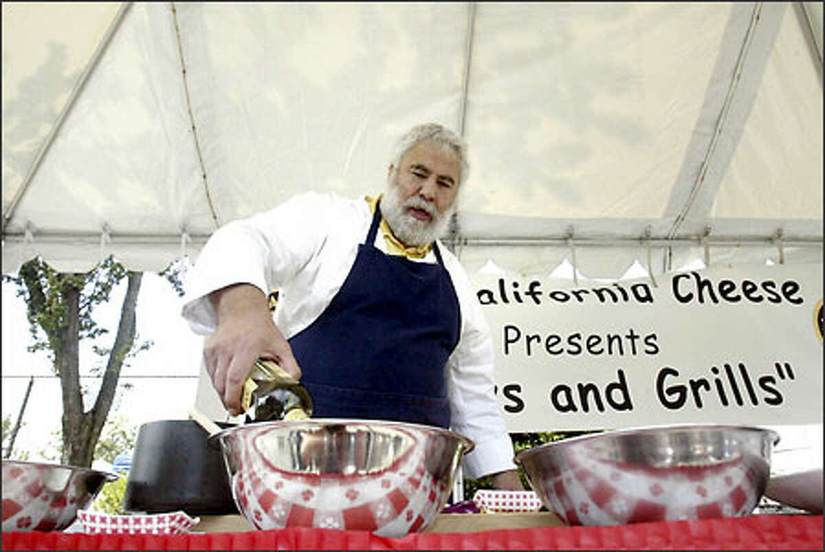 Master barbecue chef Bruce Aidells creates a sauce for chicken. Aidells was one of the featured chefs at Low & Slow.