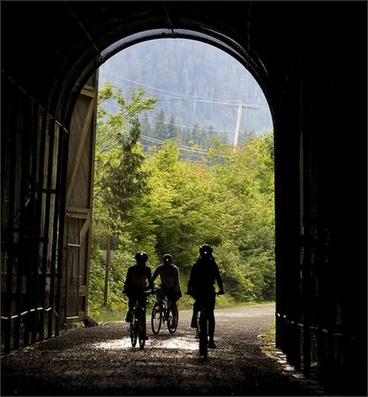 Riders head into the Snoqualmie Pass Tunnel.