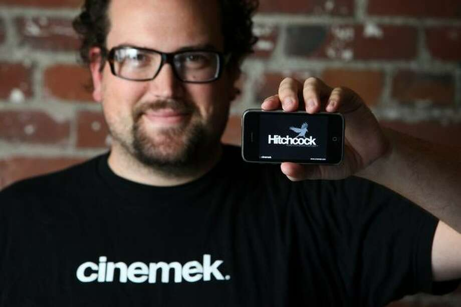 Jonathan Houser photographed with his iPhone and Hitchcock Mobile Storyboard Composer application on Friday August 28, 2009 in Seattle. Photo: Joshua Trujillo, Seattlepi.com / seattlepi.com