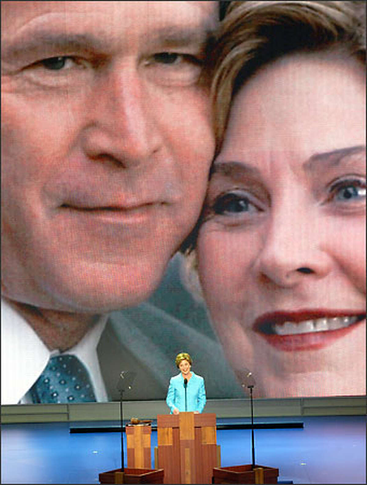 First lady Laura Bush addresses delegates at the Republican National Convention in New York's Madison Square Garden.