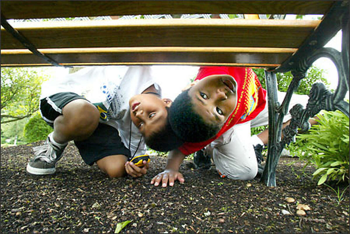 Nine-year-old Marco Willis, left, and Alexander Thompson, 7, search under a bench for clues while looking for hidden treasure by geocaching in Edmonds.