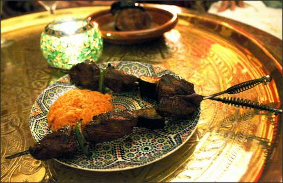 Beautiful lighting and Moroccan design make the food, such as this Beef Brochette, taste even better at Kasbah.