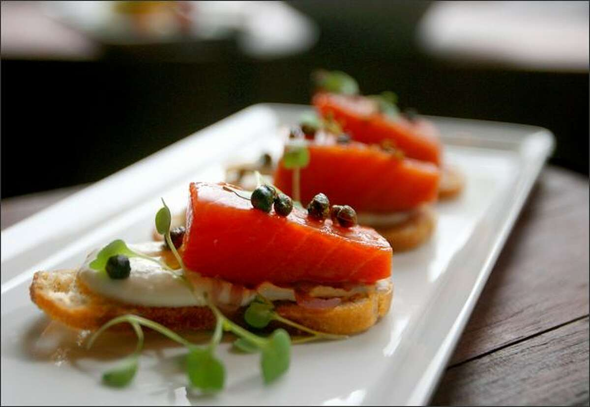 Spur's smoked salmon crostini for $9 is a good choice.