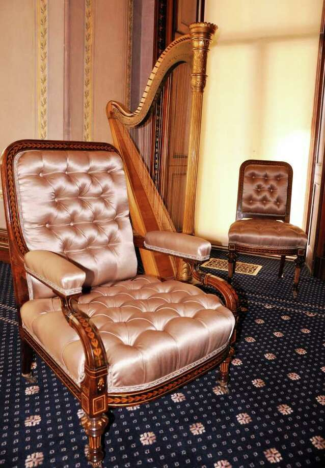 Norwalk's Lockwood-Mathews Mansion Museum will be showing off some of its restorative projects, such as work done to Herter Brothers chairs, during the opening of the 45 season, Friday, April 8. Contributed photo/Jennifer Rose Photo: Contributed Photo / Stamford Advocate Contributed