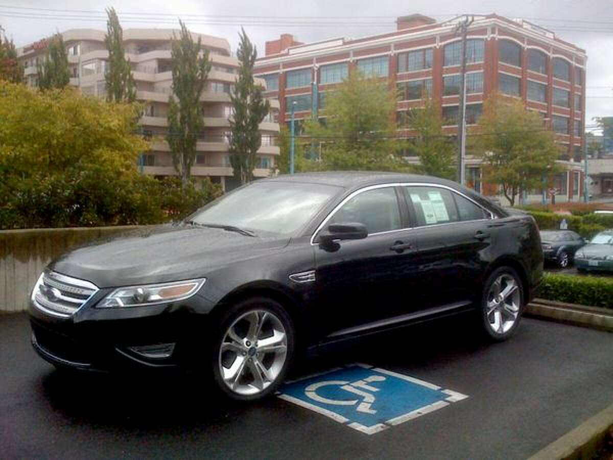 The new 2010 Ford Taurus parked at Daniel's Broiler in South Lake Union. (Scott Gutierrez/Seattlepi.com)
