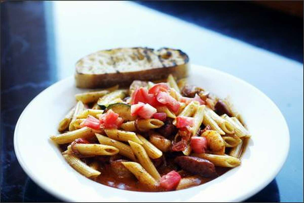 A good bet is the Tiger Prawn & Andouille Sausage Penne entree, filled with Cajun spices, tomatoes, onions, garlic, zucchini and cream.
