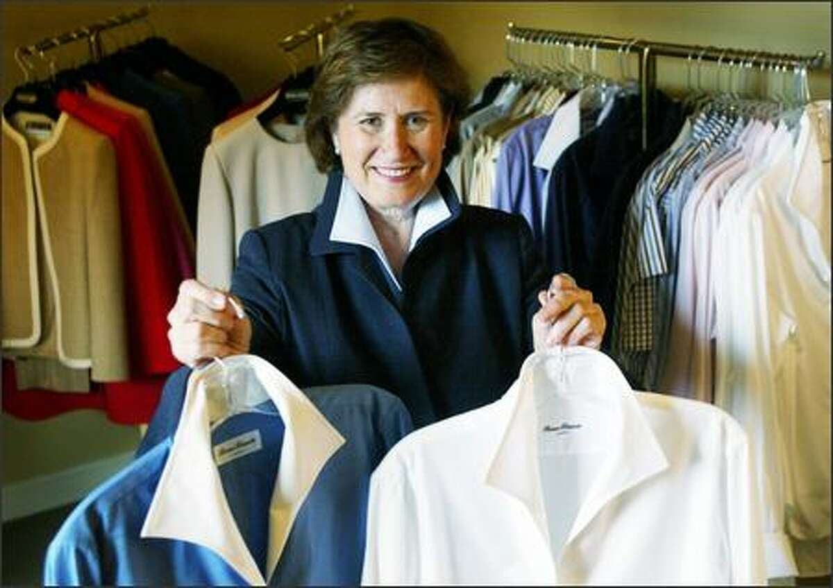 Renee Bassetti creates classic custom shirts at her office in the Four Seasons Fairmont Hotel. The shirts are noted for their flattering collars and crisp sophistication.
