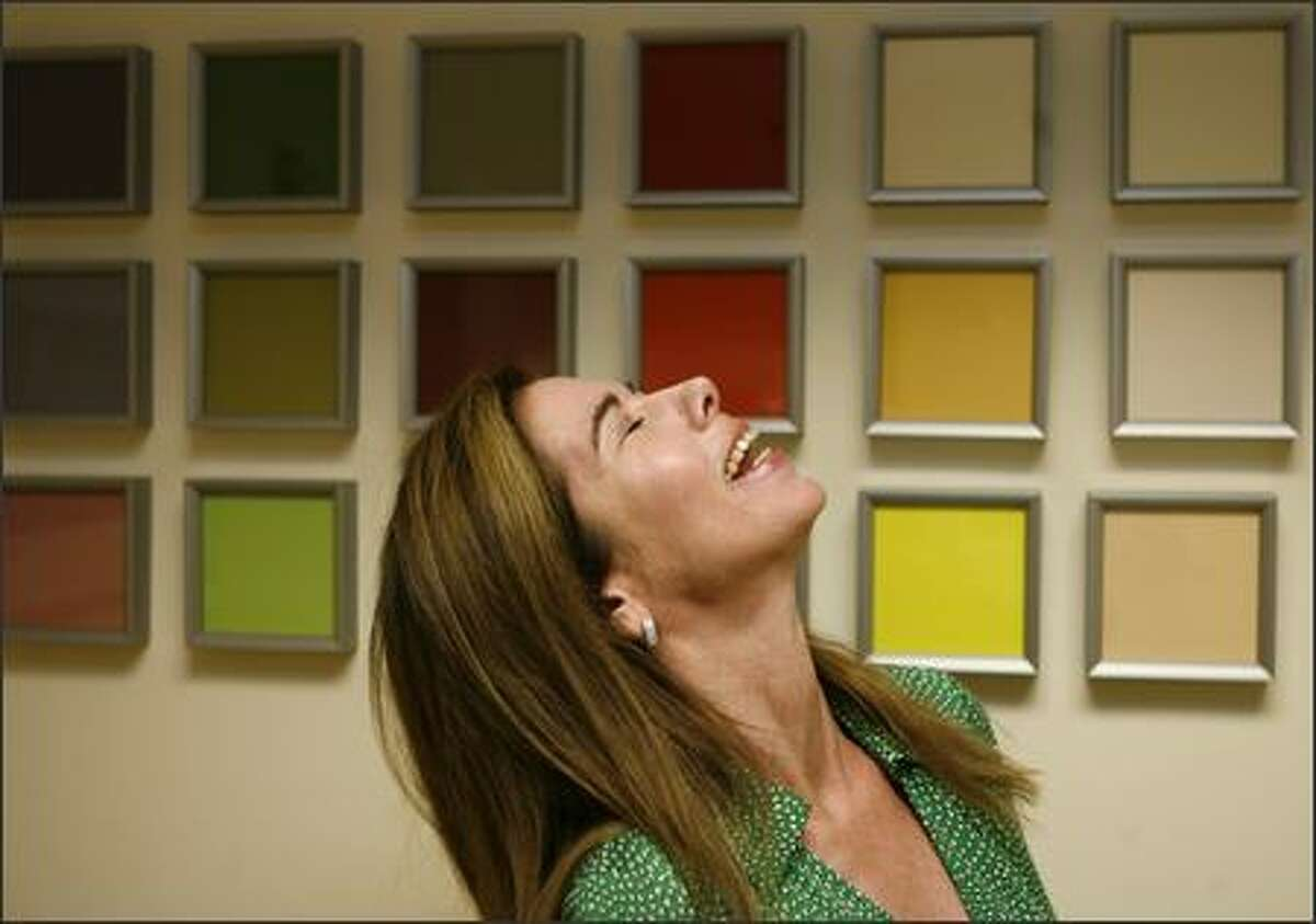 Walls display color samples in the office of Jaime Stephens, executive director of the Color Marketing Group in Alexandria, Va.