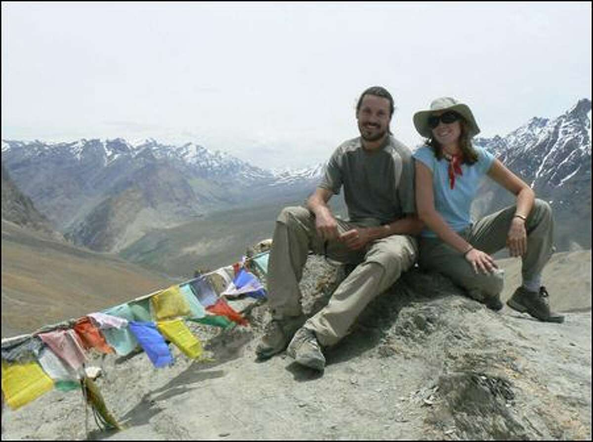 Adventure traveler Alyssa Martin poses with guide Dan Travers during a 10-day trek in the western Himalayas in India. Martin most cherishes the bonds she made with the people of the region. (Crooked Trails)