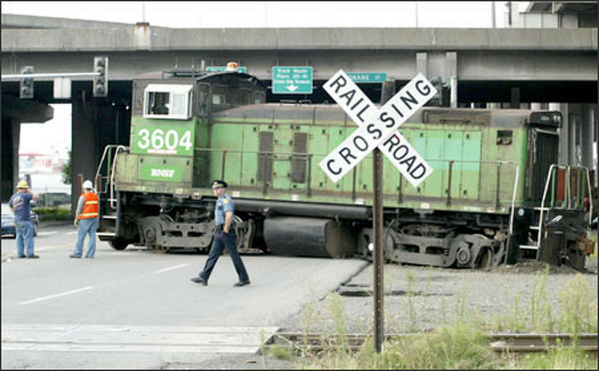 The derailed train blocked East Marginal Way.
