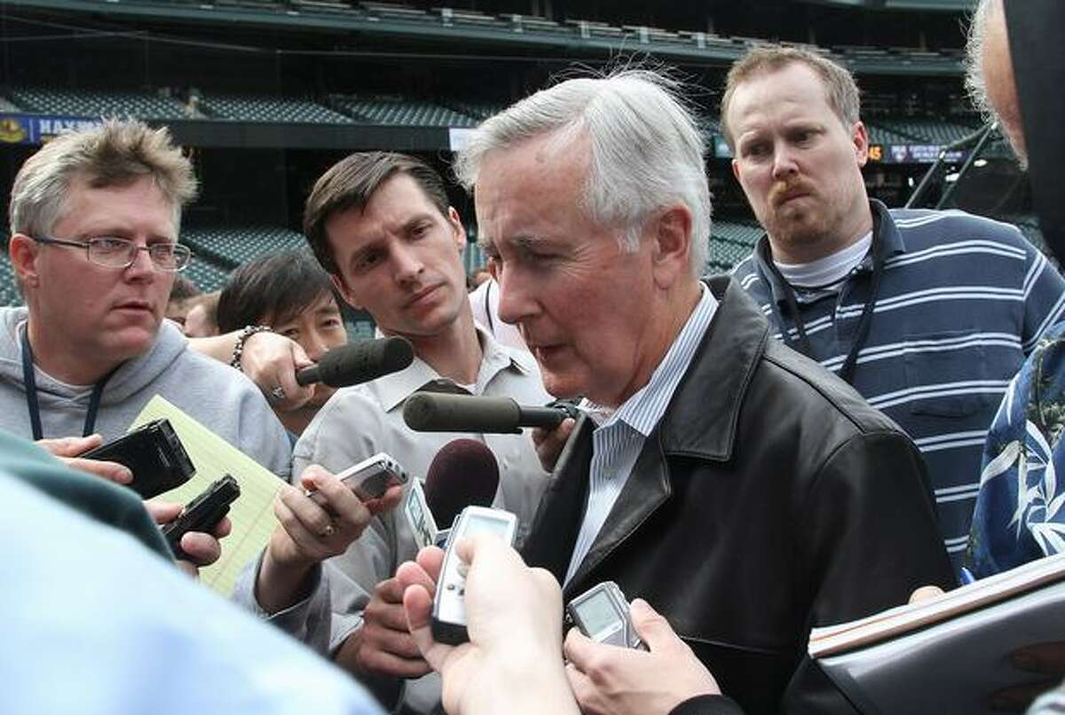 Seattle Mariners Chairman and Chief Executive Officer Howard Lincoln speaks with the media after the team announced the retirement of Ken Griffey Jr. prior to a game against the Minnesota Twins at Safeco Field in Seattle on June 2, 2010.