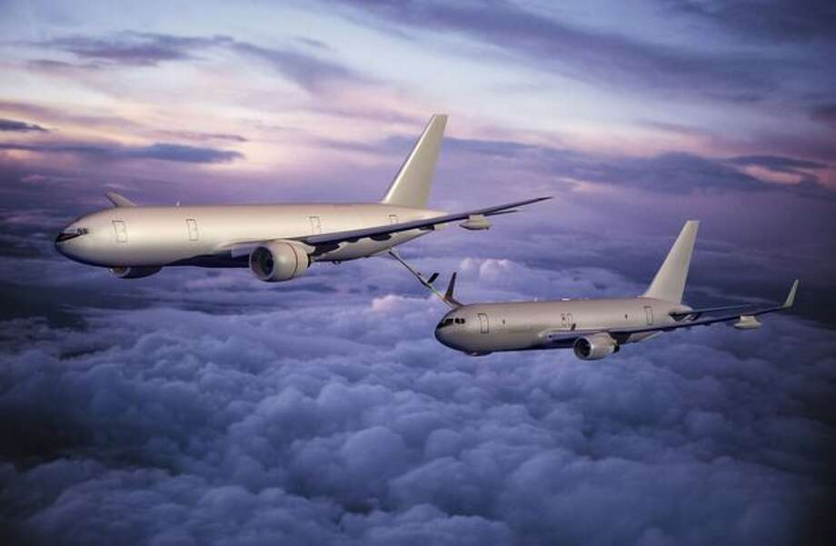 A Boeing 777-based tanker refuels a 767-based tanker in this artist's rendering. Photo: The Boeing Company / The Boeing Company