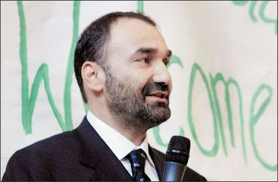 General Ata Mohammad Noor, governor of Balkh Province in Afghanistan, speaks to Coe Elementary students during an assembly at the Queen Anne school Monday. Photo: Andy Rogers, Seattle Post-Intelligencer / Seattle Post-Intelligencer