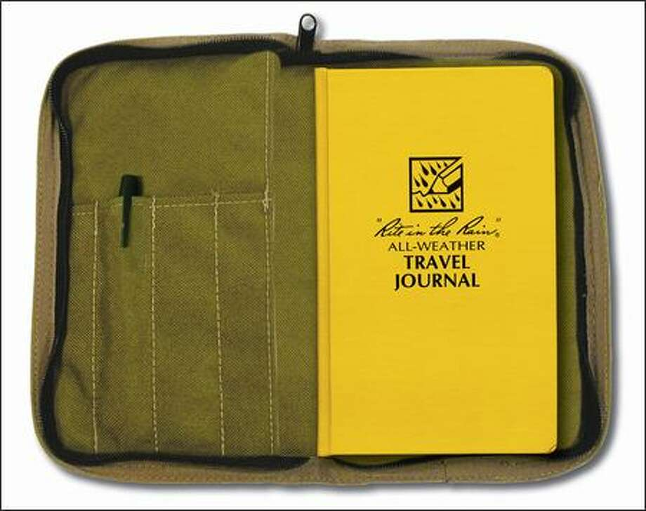 A Rite in the Rain All-Weather Travel Journal with cover and pen is dependable.