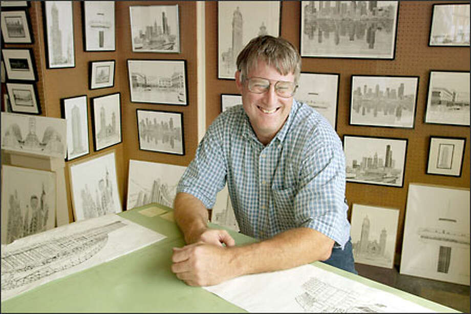 The walls of Patrick Kerr's gallery are adorned with examples of his intricate architectural drawings. Photo: Meryl Schenker, Seattle Post-Intelligencer / Seattle Post-Intelligencer