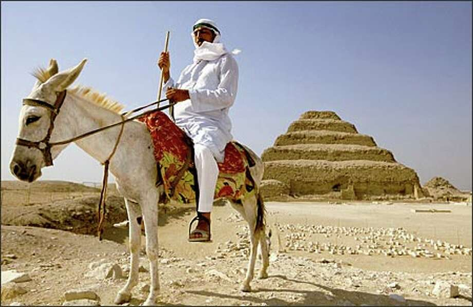 The first pyramid, King Djoser's Step Pyramid, was erected more than 4,500 years ago at Saqqara, a massive desert necropolis on the edge of the Nile Valley. Photo: PBS / PBS