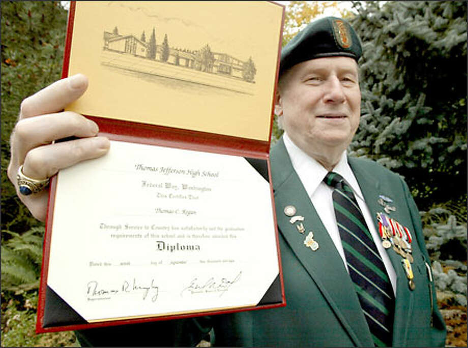 Tom Regan was one of two veterans of the 1940s who recently received a high school diploma from the Federal Way School District under a bill passed by the state Legislature last spring. Photo: Gilbert W. Arias, Seattle Post-Intelligencer / Seattle Post-Intelligencer