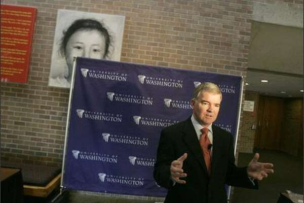 UW President Mark Emmert answers questions Wednesday after his annual address to the university. In announcing the Husky Promise program, he said the UW is unfairly portrayed as elitist.