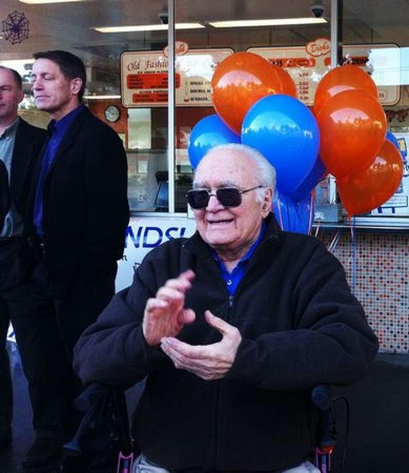 Dick Spady, co-founder and namesake of Dick's Drive-In, celebrated the announcement of the company's Edmonds location. The announcement was made Friday at the original N.E. 45th Street location on Spady's 87th birthday. Photo: Casey McNerthney, Seattlepi.com / seattlepi.com