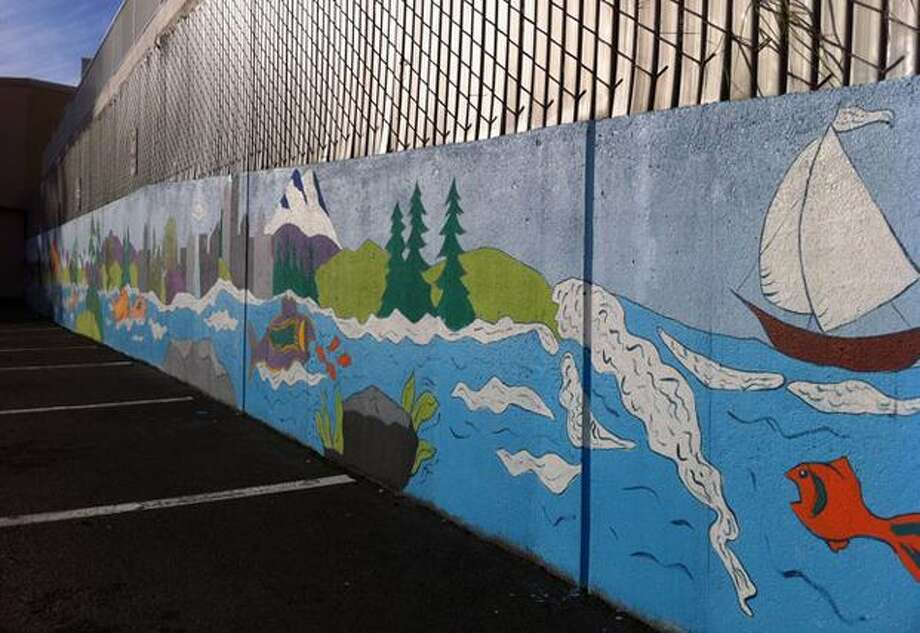 This 90-foot mural was created at the Lake City Community Center through the Community Court program, which allows non-violent offenders give back to communities. Photo: Casey McNerthney, Seattlepi.com / seattlepi.com