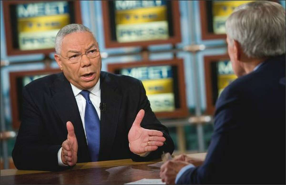 """Former Secretary of State Gen. Colin Powell speaks during a taping of """"Meet the Press"""" at NBC on Sunday in Washington, D.C. Powell, a Republican who was President Bush's first secretary of state, endorsed Democrat Barack Obama for president and criticized the tone of Republican John McCain's campaign."""