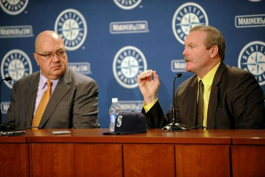 Eric Wedge, right, was hired as the new manager for the Seattle Mariners. He speaks to the press at Safeco Field on Tuesday, Oct. 19, 2010. Photo: Elliot Suhr, Seattlepi.com / seattlepi.com