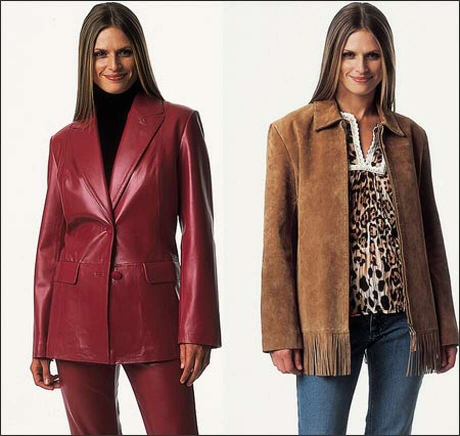 Models pose in a red blazer in washable leather and a fringed jacket in washable suede from Bernardo.