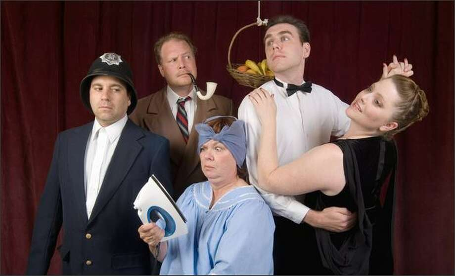 "Stone Soup Theatre's staging of Tom Stoppard's ""A Stoppard Duo: After Magritte"" features, from left, Michael LoSasso, Aaron Ousley, Chris Hille, Matt Middleston and & Courtney Bohl."