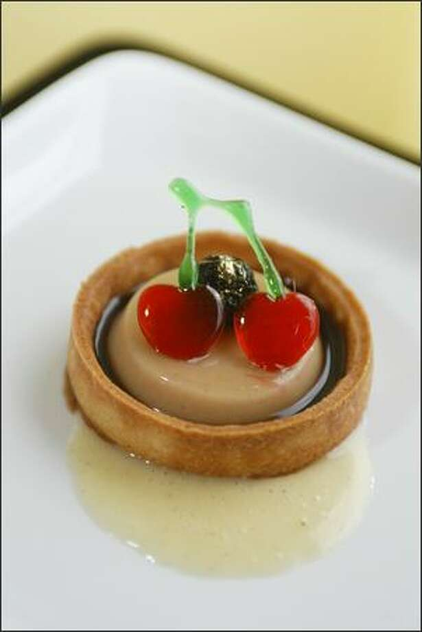 Cherry Cola Flan is in a sweet pastry crust. Photo: Paul Joseph Brown, Seattle Post-Intelligencer / Seattle Post-Intelligencer