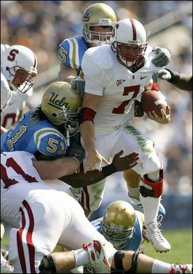 Stanford running back Toby Gerhart has a bruising style. He leads the Pac-10 with five 100-yard rushing games. Photo: Associated Press / Associated Press