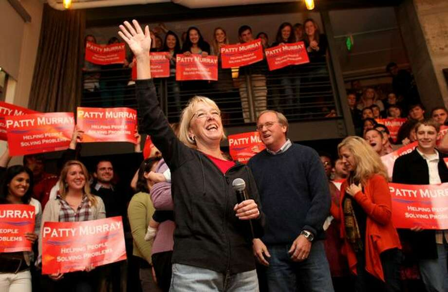 U.S. Senator Patty Murray waves to supporters during her acceptance speech at Tuta Bella pizzeria in Seattle on Thursday, Nov. 4, 2010. Murray pulled ahead of opponent Dino Rossi, who conceded earlier in the evening. Photo: Joshua Trujillo, Seattlepi.com / seattlepi.com