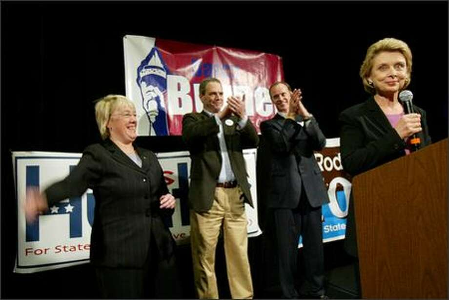 Left to right, Washington state Senator Patty Murray, Ross Hunter, State Rep. District 48, Rodney Tom, state Senate, and Governor Christine Gregoire appear at an election night party for Democratic candidate Darcy Burner, suburban 8th District, at the Westin Hotel in Bellevue on Tuesday.(Karen Ducey/Seattle Post-Intelligencer)