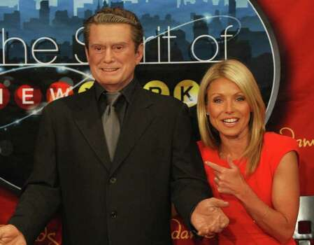 NEW YORK, NY - APRIL 05:  TV personality Kelly Ripa (R) poses with a wax figure of Regis Philbin  during the unveiling of  her wax figure at Madame Tussauds New York  at Madame Tussauds on April 5, 2011 in New York City.  (Photo by Bennett Raglin/Getty Images for Madame Tussauds) *** Local Caption *** Kelly Ripa Photo: Bennett Raglin, Getty Images For Madame Tussauds / 2011 Getty Images