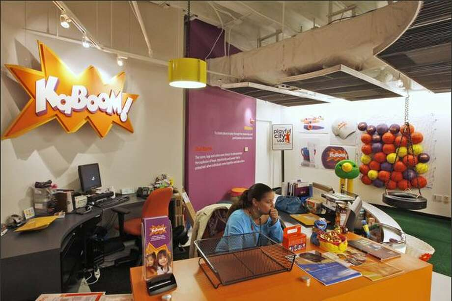 The KaBoom reception area resembles a playground to see how job applicants act around the equipment. Photo: Associated Press / Associated Press